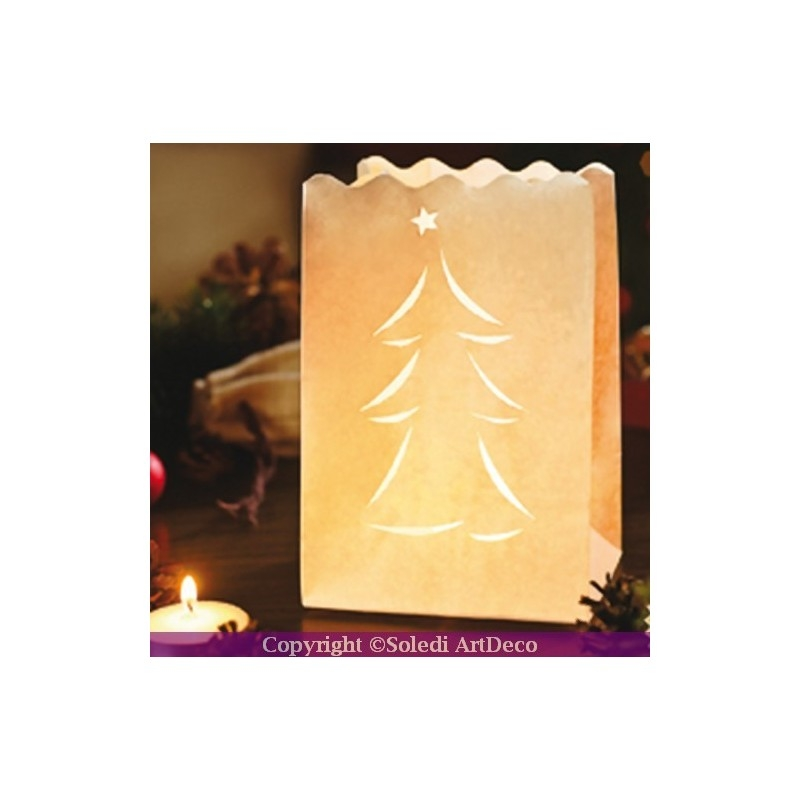 Lot de 10 photophores haut 16 cm en papier ignifug sapin for Deco de noel interieur