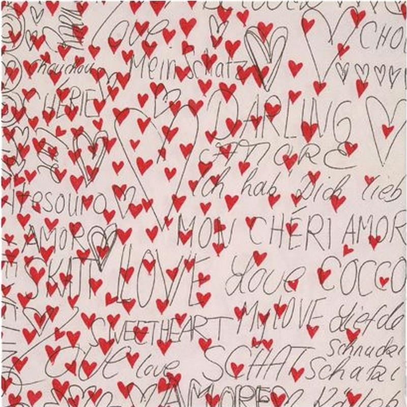 Lot de 2 serviettes en papier motif petits coeurs et mots for Amour de cuisine basboussa
