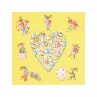 Lot de 2 Serviettes en papier Coeur Pascal avec lapins et oeufs