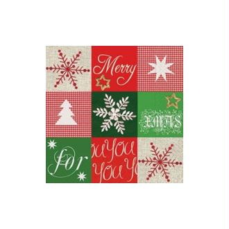 Lot de 2 Serviettes en papier motif  Merry Christmas