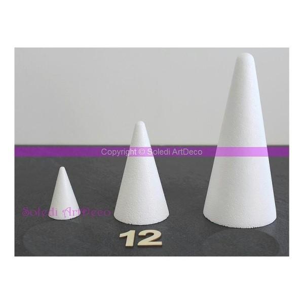 Cône polystyrène, hauteur 12cm, Diamètre de la base 7cm, densité sup&eacu - Photo n°1