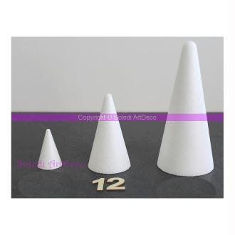 Cône polystyrène, hauteur 12cm, Diamètre de la base 7cm, densité sup&eacu
