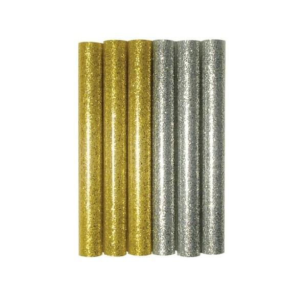 6 Recharges Sticks pailletés Or et Argent pour pistolet à colle chaude, diam 10 mm, 10 cm - Photo n°1