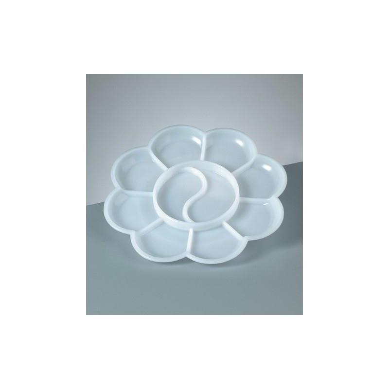 Palette de mélange pour peintre, 9-10 compartiments, Diam. 13,5 cm - Photo n°1