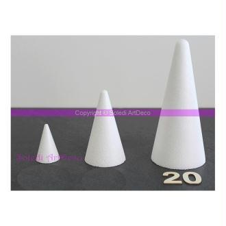 Cône polystyrène, hauteur 20 cm, Base 9 cm, Styro densité supérieure