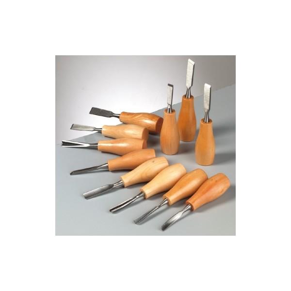 Outils de sculpture pour Pierre Stéatite, Gouges de 14 de long, lot de 11 - Photo n°2