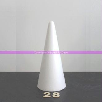 Cône polystyrène, hauteur 28 cm, diamètre de base 12 cm
