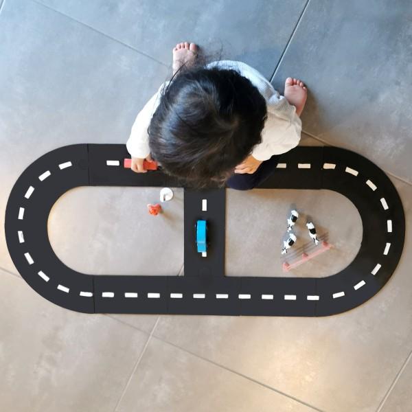 Circuit voiture en bois - 88 x 34 cm - 11 pcs - Photo n°3