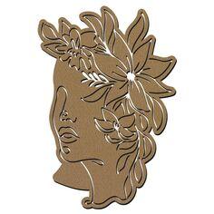 Visage abstrait line art en bois - Profil fleurs - 40 cm