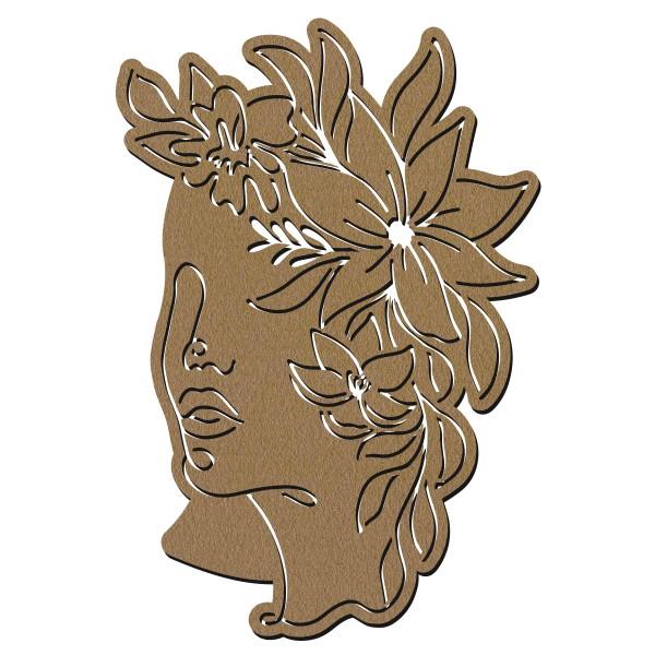 Visage abstrait line art en bois - Profil fleurs - 40 cm - Photo n°1