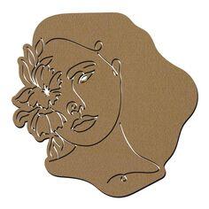 Visage abstrait line art en bois - Face - 40 cm