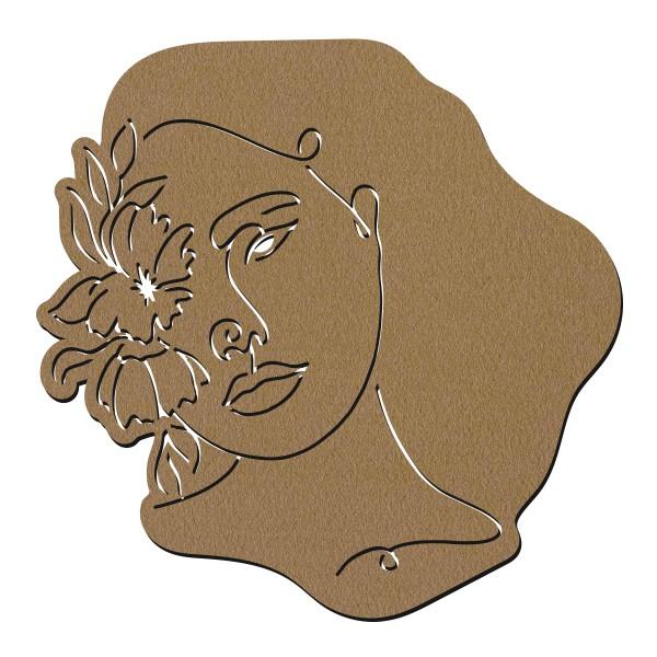 Visage abstrait line art en bois - Face - 40 cm - Photo n°1