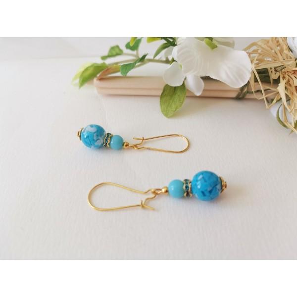 Kit boucles d'oreilles perles bleues et apprêts dorés - Photo n°2