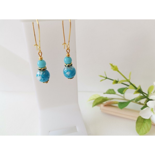 Kit boucles d'oreilles perles bleues et apprêts dorés - Photo n°1