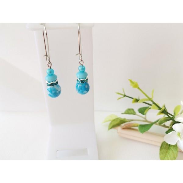 Kit boucles d'oreilles perles bleues et apprêts argent mat - Photo n°1