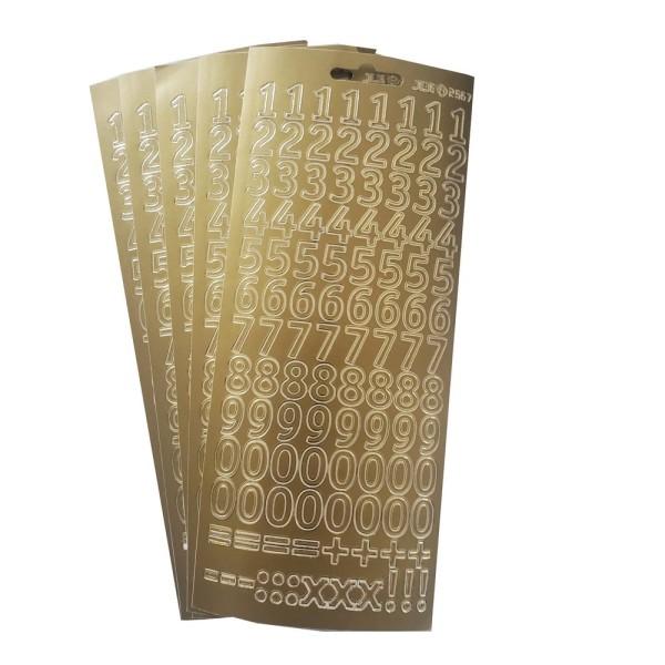 Lot 5 Stickers de contour, Grands Chiffres et symboles de calcul, doré, haut. 15 mm, Planche 10 x 23 - Photo n°1
