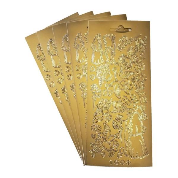 Lot 5 Stickers de contour, Symboles de Mariage, de 5 à 75 mm, Doré, Planche 10 x 23 cm, autocollants - Photo n°1