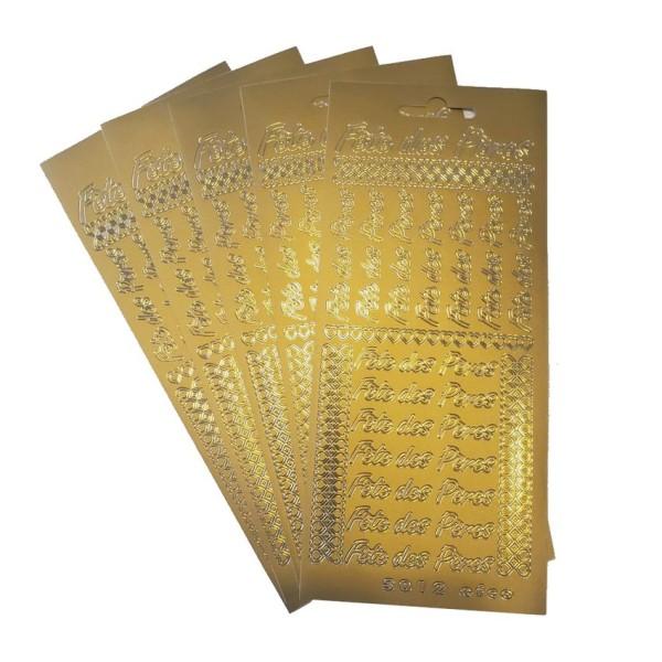 Lot de 5 Stickers de contour Fête des Pères,  écriture et coeurs, Doré, Planches 10 x 23 cm, autocol - Photo n°1