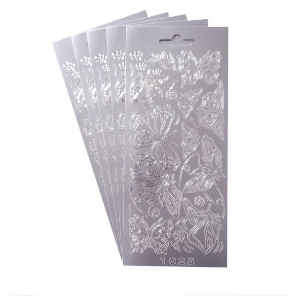 Lot 5 Stickers de contour, Papillons de 35 à 65 mm, Argenté, Planches 10 x 23 cm, autocollants pour - Photo n°1