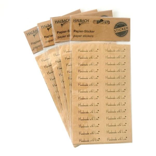 Lot de 4 Planches de Stickers autocollants papier écriture Fait avec amour en anglais