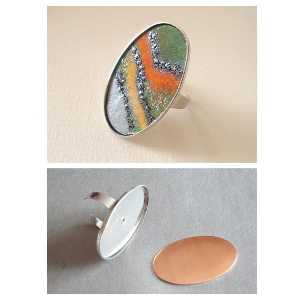 Bague avec Platine ovale couleur argent, ø 2,5 x 4 cm, support Cuivre, pour création bijoux Efcolor - Photo n°2