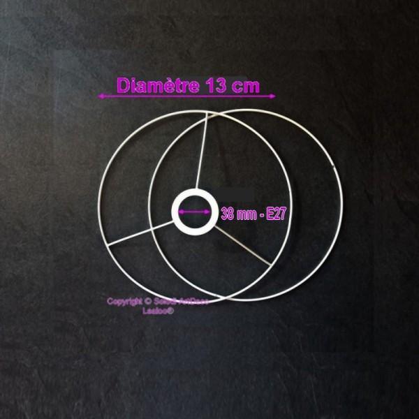 Set d'Ossature de Ø 13cm pour abat-jour, petit Anneaux ronds en epoxy blanc, pour Douille E27, 38mm - Photo n°2