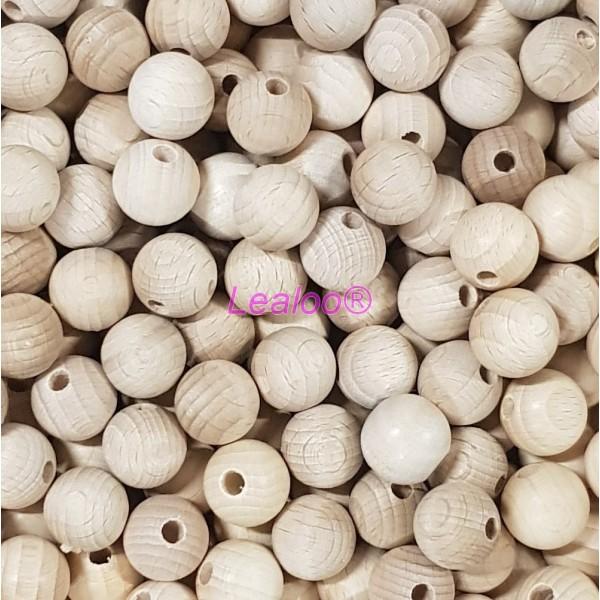Lot de 25 Boules percées en bois de hêtre, Ø 30 mm, perçage 6 mm - Photo n°2