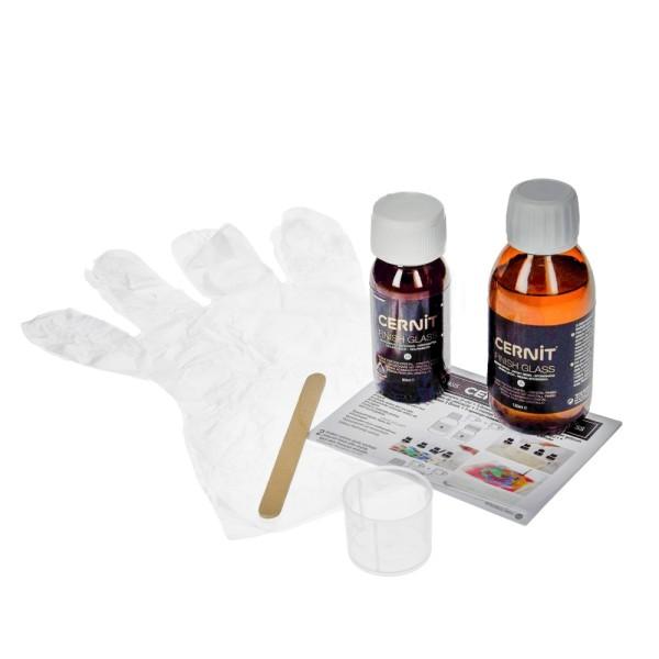Kit Résine epoxy cernit finish glass, 120 ml + 60 ml, avec accessoires et mode d'emploi - Photo n°2