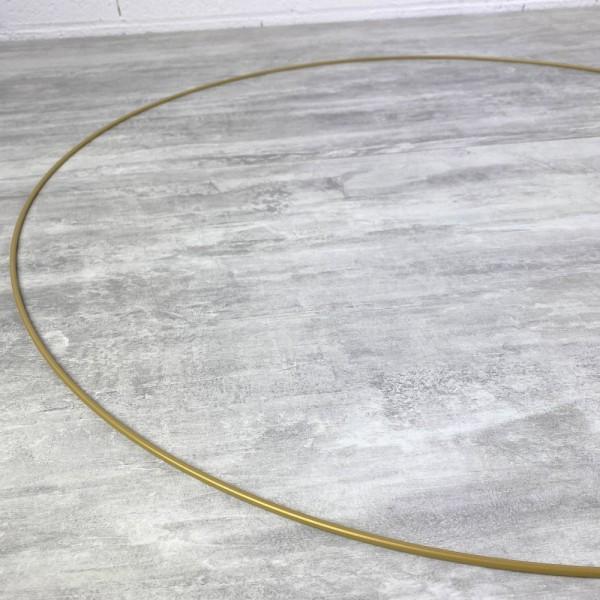 Grand Cercle métallique doré ancien, diam. 60 cm pour abat-jour, Anneau epoxy or Attrape rêves - Photo n°3