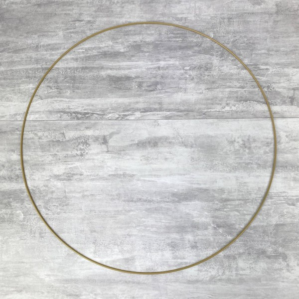 Grand Cercle métallique doré ancien, diam. 60 cm pour abat-jour, Anneau epoxy or Attrape rêves - Photo n°1