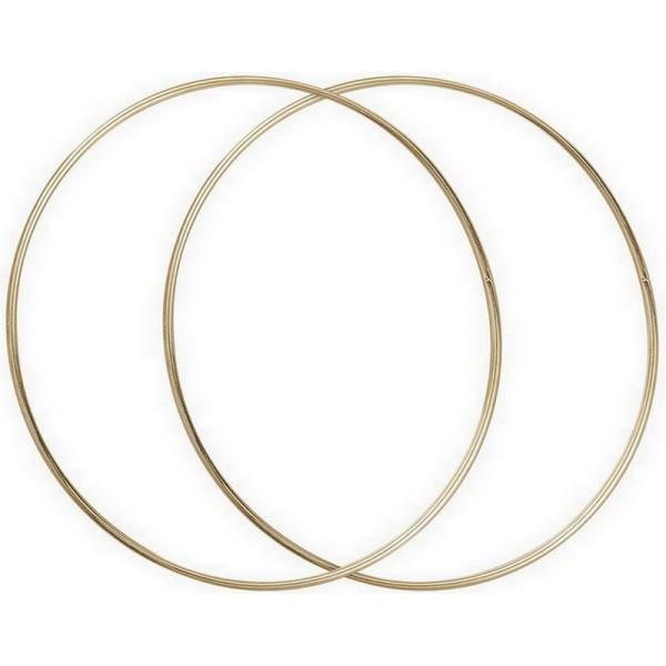 Lot de 2 Grands Cercles métalliques doré ancien, diam. 60 cm pour abat-jour, Anneaux epoxy Attrape r - Photo n°1
