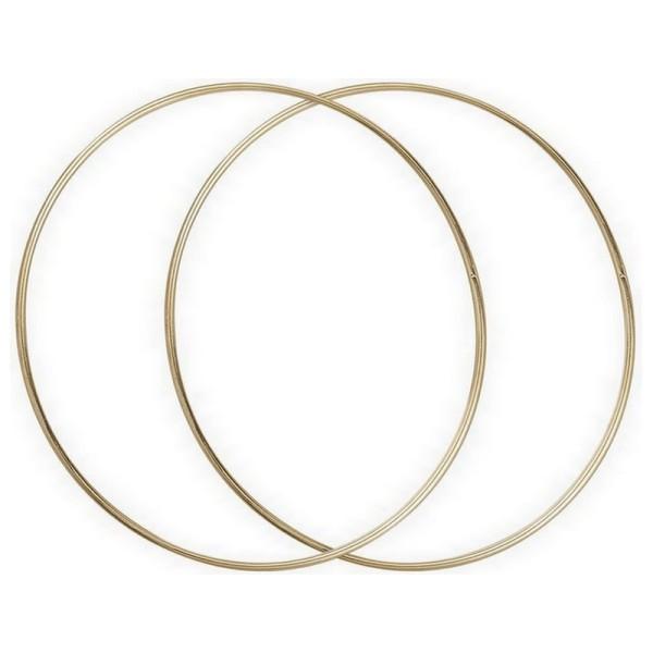 Lot de 2 Grands Cercles métalliques doré ancien, diam. 50 cm pour abat-jour, Anneaux epoxy Attrape r - Photo n°2