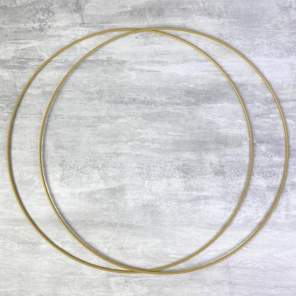 Lot de 2 Grands Cercles métalliques doré ancien, diam. 50 cm pour abat-jour, Anneaux epoxy Attrape r - Photo n°1