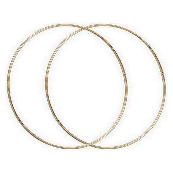Lot de 2 Cercles métalliques doré ancien, diam. 40 cm pour abat-jour, Anneaux epoxy Attrape rêves - Photo n°2