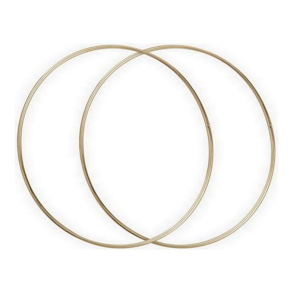 Lot de 2 Cercles métalliques doré ancien, diam. 30 cm pour abat-jour, Anneaux epoxy Attrape rêves - Photo n°1