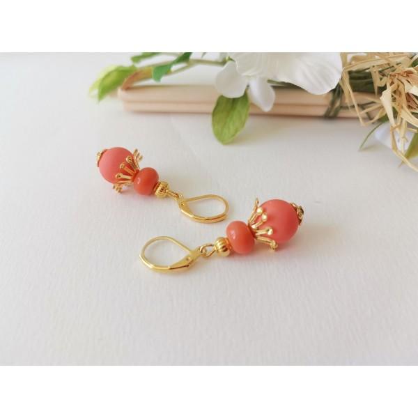 Kit boucles d'oreilles perles oranges et apprêts dorés - Photo n°2