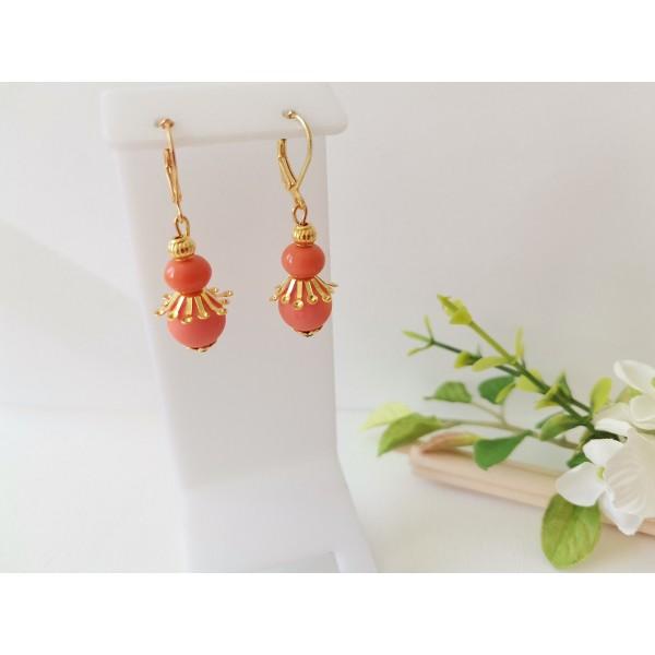 Kit boucles d'oreilles perles oranges et apprêts dorés - Photo n°1