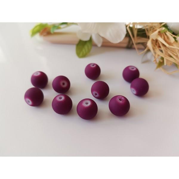 Perles en verre ronde 10 mm violet effet caoutchouc x 10 - Photo n°1