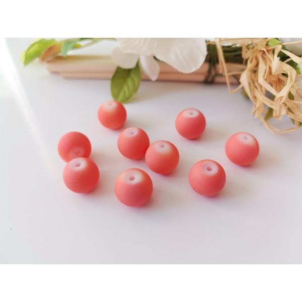 Perles en verre ronde 10 mm orange effet caoutchouc x 10 - Photo n°1