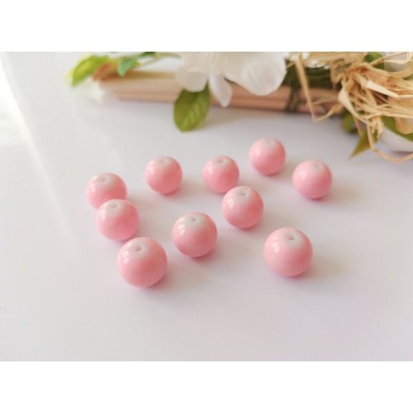 Perles en verre ronde 10 mm rose clair x 10 - Photo n°1