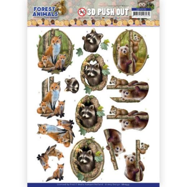 Carte 3D prédéc. - SB10535 - Forest animals - Renard Raton laveur et ours - Photo n°1