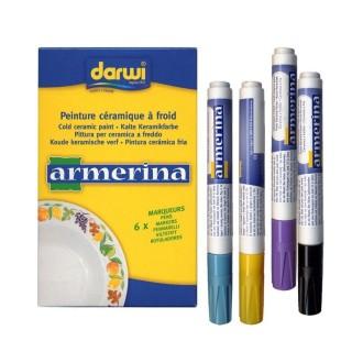 Marqueur 6 ml céramique à froid Armerina, lot de 6 feutres de couleurs assorties