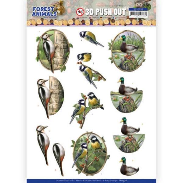 Carte 3D prédéc. - SB10538 - Forest animals - Pic vert canard et mésange - Photo n°1