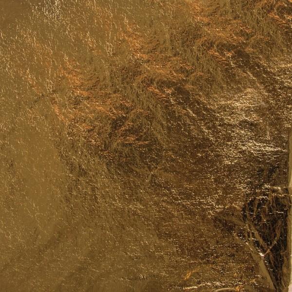 Déco métal, 14x14 cm, 5 feuilles Or - Photo n°1