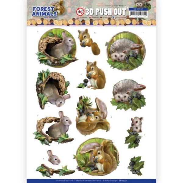 Carte 3D prédéc. - SB10537 - Forest animals - Lapin écureuil et hérisson - Photo n°1