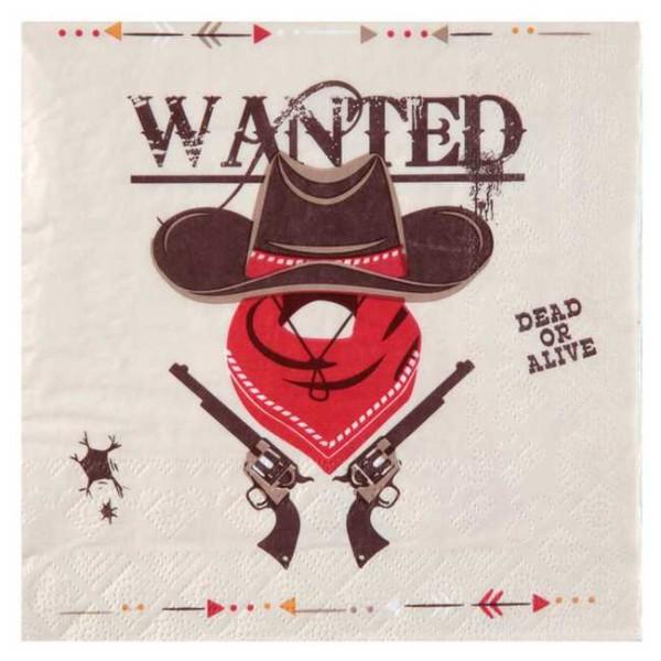 20 Serviettes en papier thème Cowboys et Indiens - Photo n°1