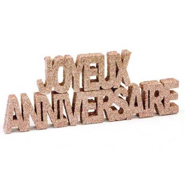 Déco de table Joyeux Anniversaire GM pailletée Rose gold - Photo n°1
