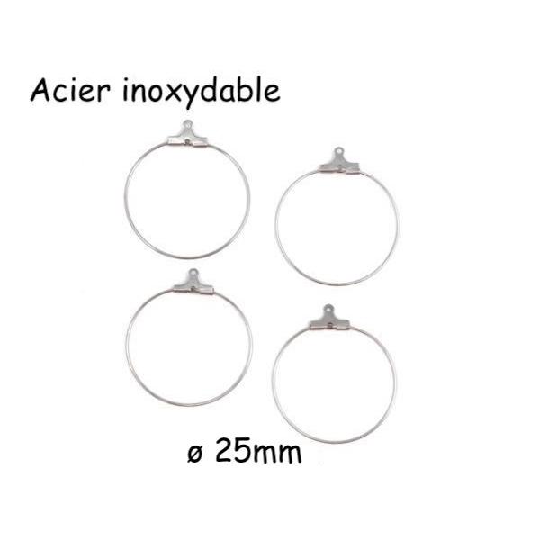 4 Supports Créoles 25mm En Acier Inoxydable Argenté, Boucles D'oreilles À Customiser - Photo n°1