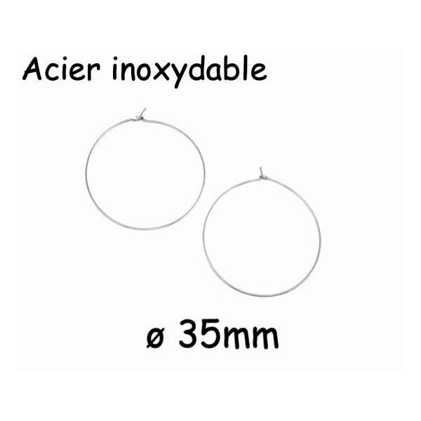 10 Créoles Argenté Fine 35mm En Acier Inoxydable - 5 Paires Boucles D'oreilles Créole - Photo n°1