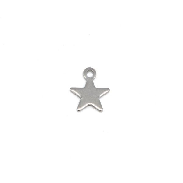 20 Petites Breloques Étoile Argenté En Acier Inoxydable 9mm - Photo n°3